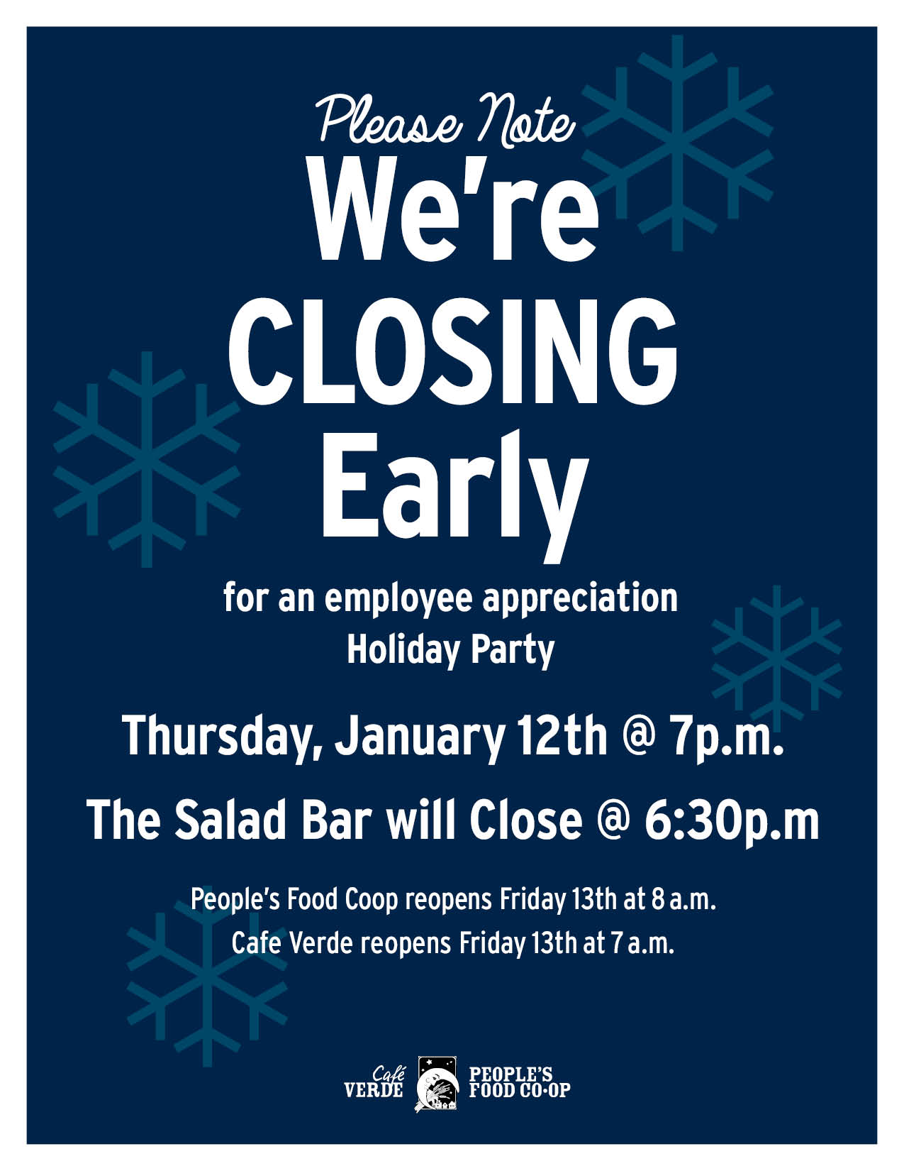 Staff Holiday Party Store Hours