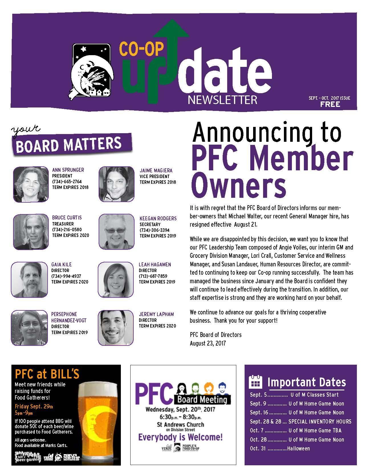 Co-op Fall 2017 Newsletter